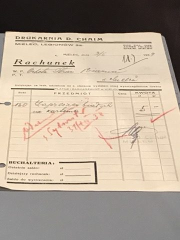 Receipt from David-CHAIM dated January 3, 1939