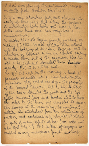 Page 1 of Israel Cohen's testimony of the 1918 pogrom in Mielec